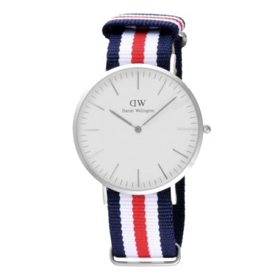 Daniel Wellington Canterbury時尚男錶-/銀框/藍白紅帶