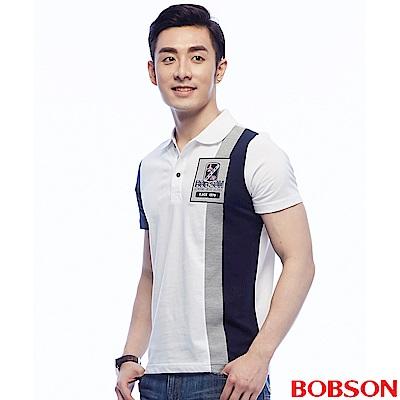 BOBSON  男款白藍配色POLO上衣