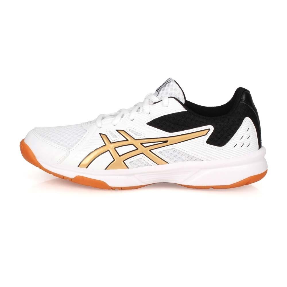 ASICS 女 排羽球鞋 UPCOURT 3 白金黑