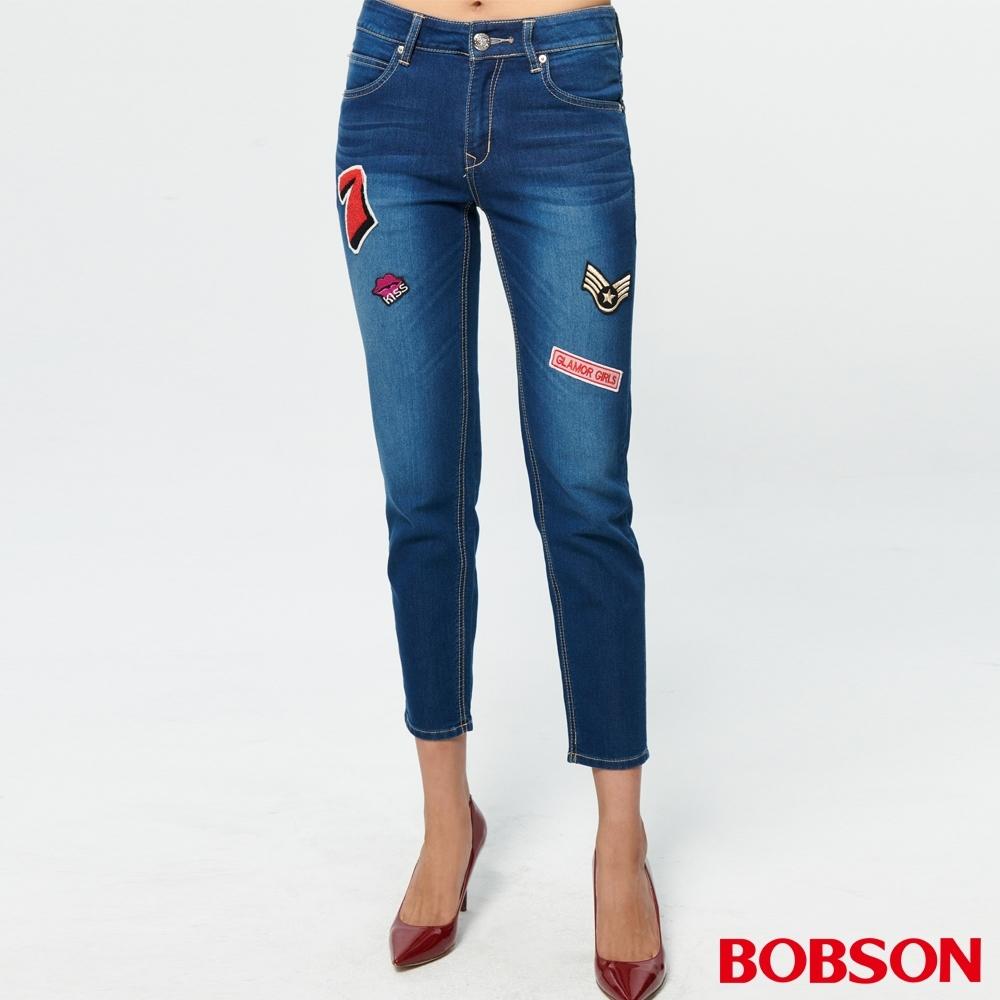 BOBSON 女款中腰針織女友褲