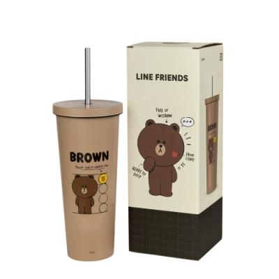 [限時下殺7折!平均499.5/入] LINE FRIENDS 熊大 不鏽鋼吸管杯680ML-2入