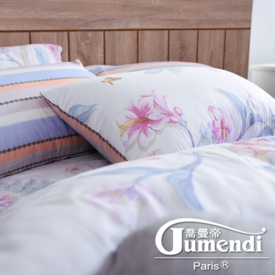 Jumendi喬曼帝 200織精梳棉-特大全鋪棉床包組-春風微漾