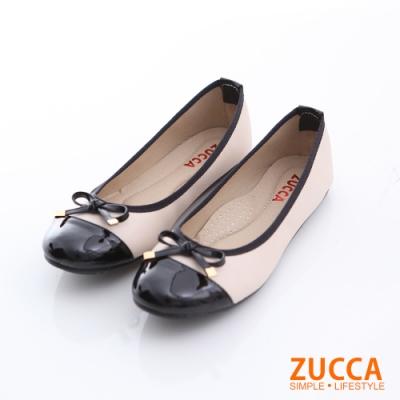 ZUCCA-亮面皮革朵結平底鞋-白-z6611we
