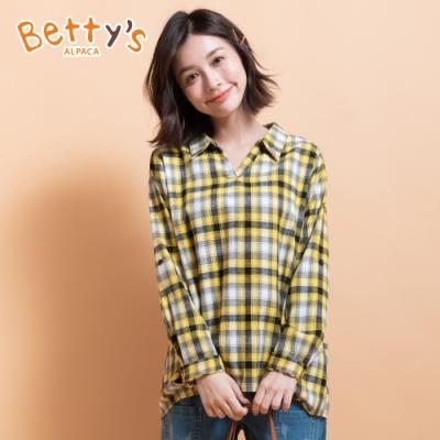 betty's貝蒂思 跳色格紋寬版造型上衣(黃格紋)