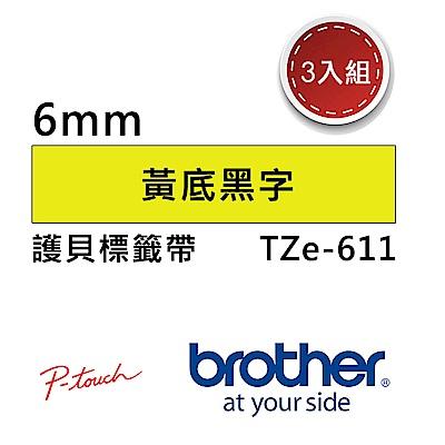 【3入組】Brother TZe-611 護貝標籤帶 ( 6mm 黃底黑字 )