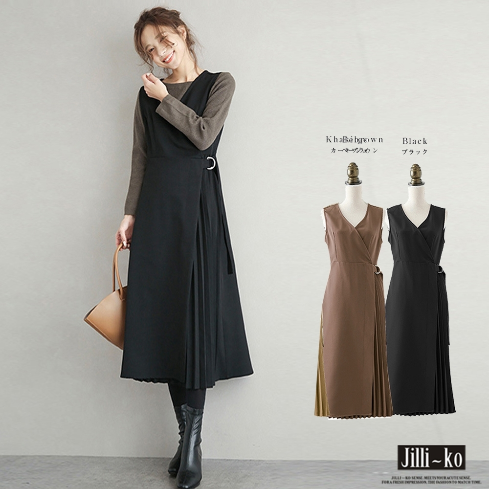JILLI-KO 日系氣質修身壓褶風背心裙- 卡其/黑 (黑色系)