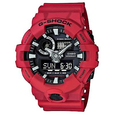 G-SHOCK 卡西歐突破創新 雙顯運動錶(GA-700-4A)-紅/53.4mm