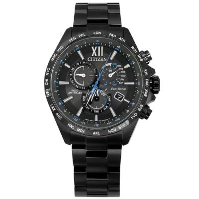 CITIZEN / 光動能 萬年曆 電波錶 日期 不銹鋼手錶(CB5835-83F)- 鍍黑 44mm