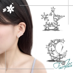 iSFairytale伊飾童話 聖誕星辰 鏤空水鑽銅電鍍耳環