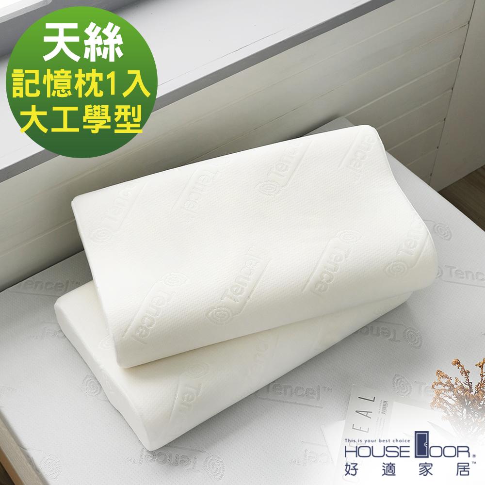 House Door 歐美熱銷款 天絲舒柔表布 工學型釋壓記憶枕-大尺寸1入