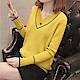 V領線條純色針織衫-共6色-F可選-初色