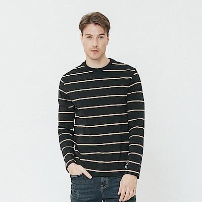Hang Ten - 男裝 - 質感條紋圓領上衣-黑色 @ Y!購物