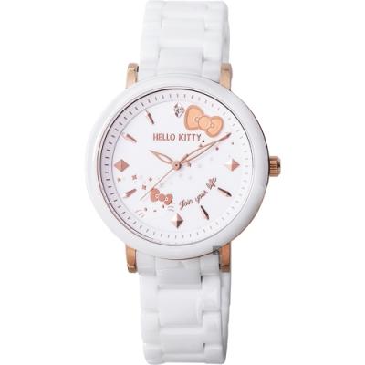 HELLO KITTY 凱蒂貓 45週年紀念甜心陶瓷錶(LK708LRWI)-白/36mm