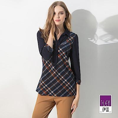 ILEY伊蕾 彈性毛料領巾造型格紋上衣(藍)