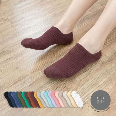 阿華有事嗎  韓國襪子 百搭純色條紋船型襪  韓妞必備 正韓百搭純棉襪