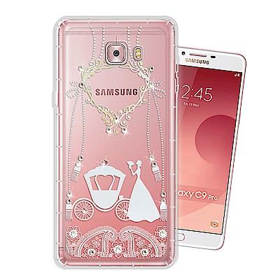 Samsung Galaxy C9 Pro 奧地利水晶彩繪空壓手機殼(精靈捧花)