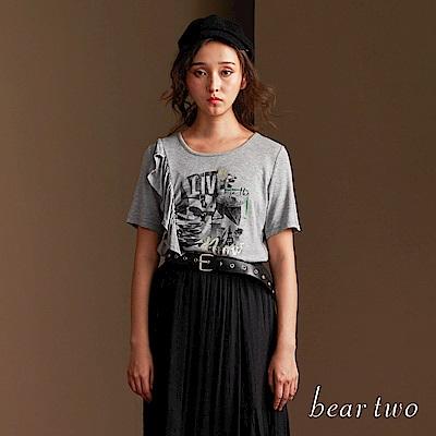 beartwo 魅力休閒圖騰設計皺摺上衣(二色)