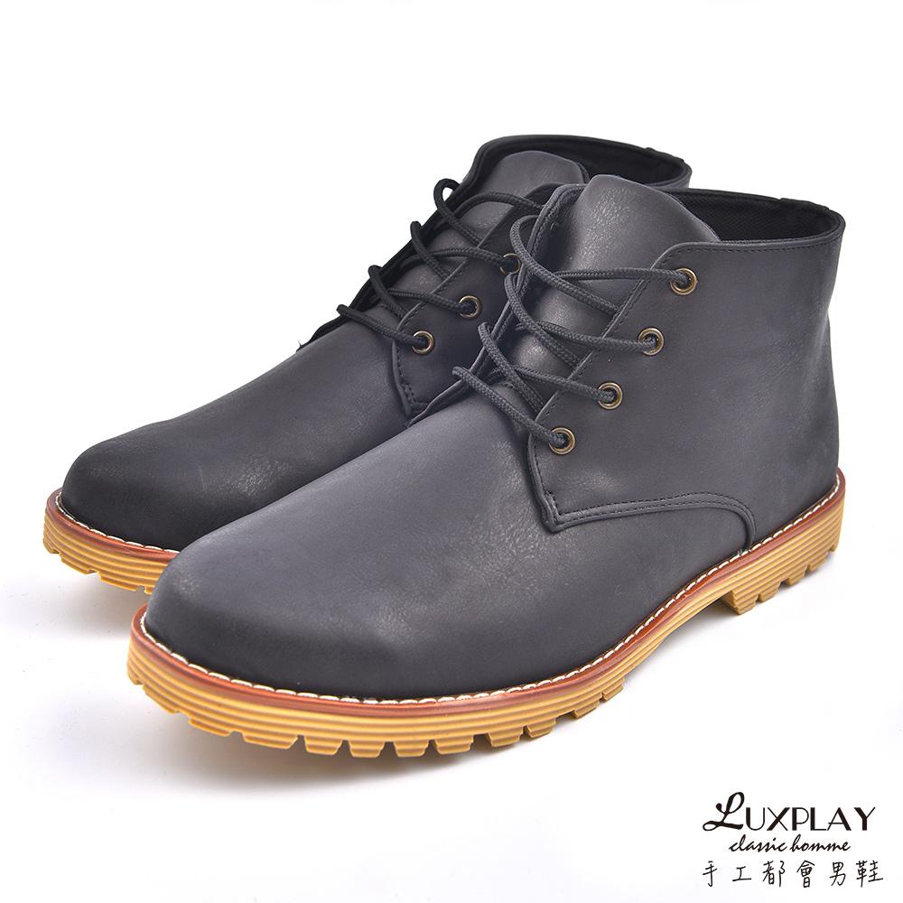 LUXPLAY  英倫時尚 高筒休閒鞋 WK259黑