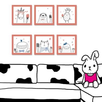 【24mama 掛畫】單聯式 動物 小孩房 親子餐廳 鳳梨 貓咪 鯨魚 樹懶 安親班 無框畫 30x30cm(寵上天)