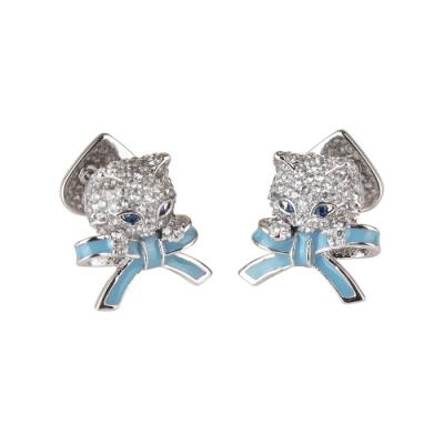 kate spade PRETTY KITTY小貓咪設計鑽鑲飾穿式耳環(銀x藍)