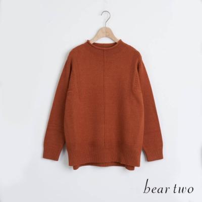 bear two- 半高領素色毛衣 - 咖啡