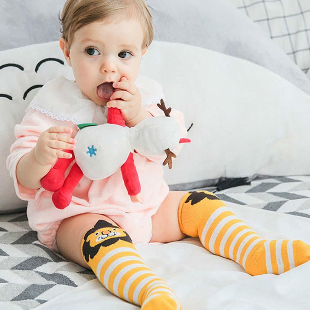 Baby unicorn 黃白條紋小獅子中筒襪
