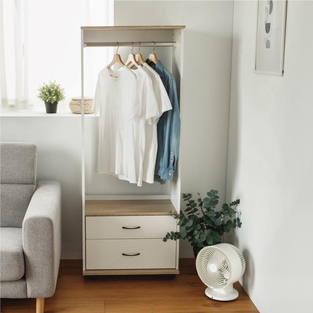 完美主義 單桿雙抽收納衣櫥/衣櫃/衣架/吊衣架/附輪