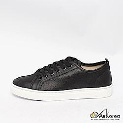 【AIRKOREA韓國空運】真皮正韓拼接綁帶微增高休閒鞋-黑