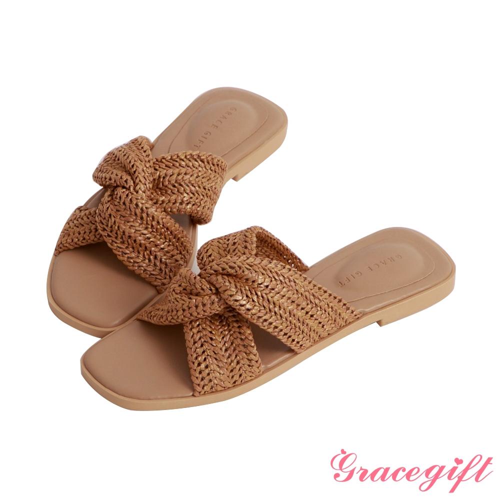 Grace gift-編織扭結平底涼拖鞋 棕
