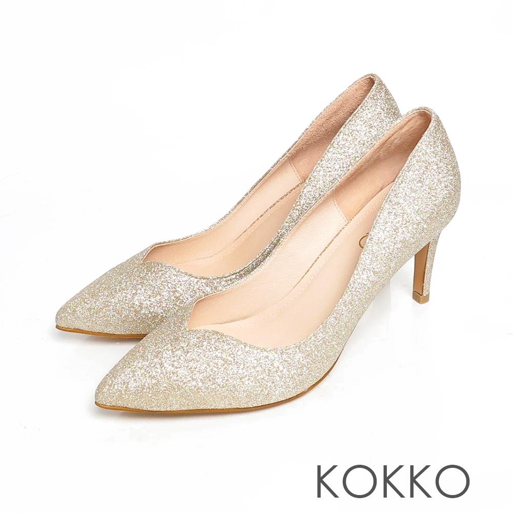 KOKKO優雅尖頭桃璀璨心口細高跟鞋玫瑰金