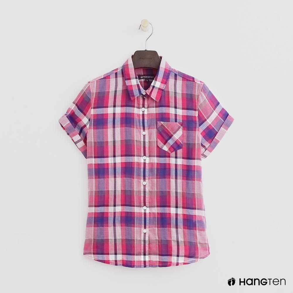 Hang Ten - 女裝 - 甜美反折格紋襯衫 - 粉