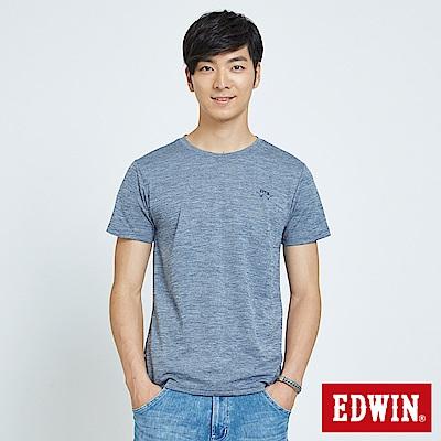EDWIN 涼感圓領LOGO印花T恤-男-丈青