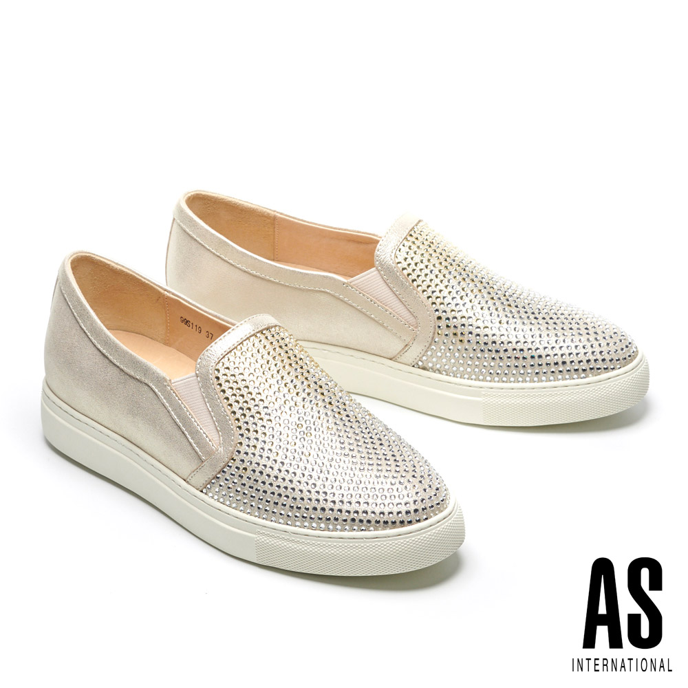 休閒鞋 AS 經典異材質拼接漸層排鑽厚底休閒鞋-金