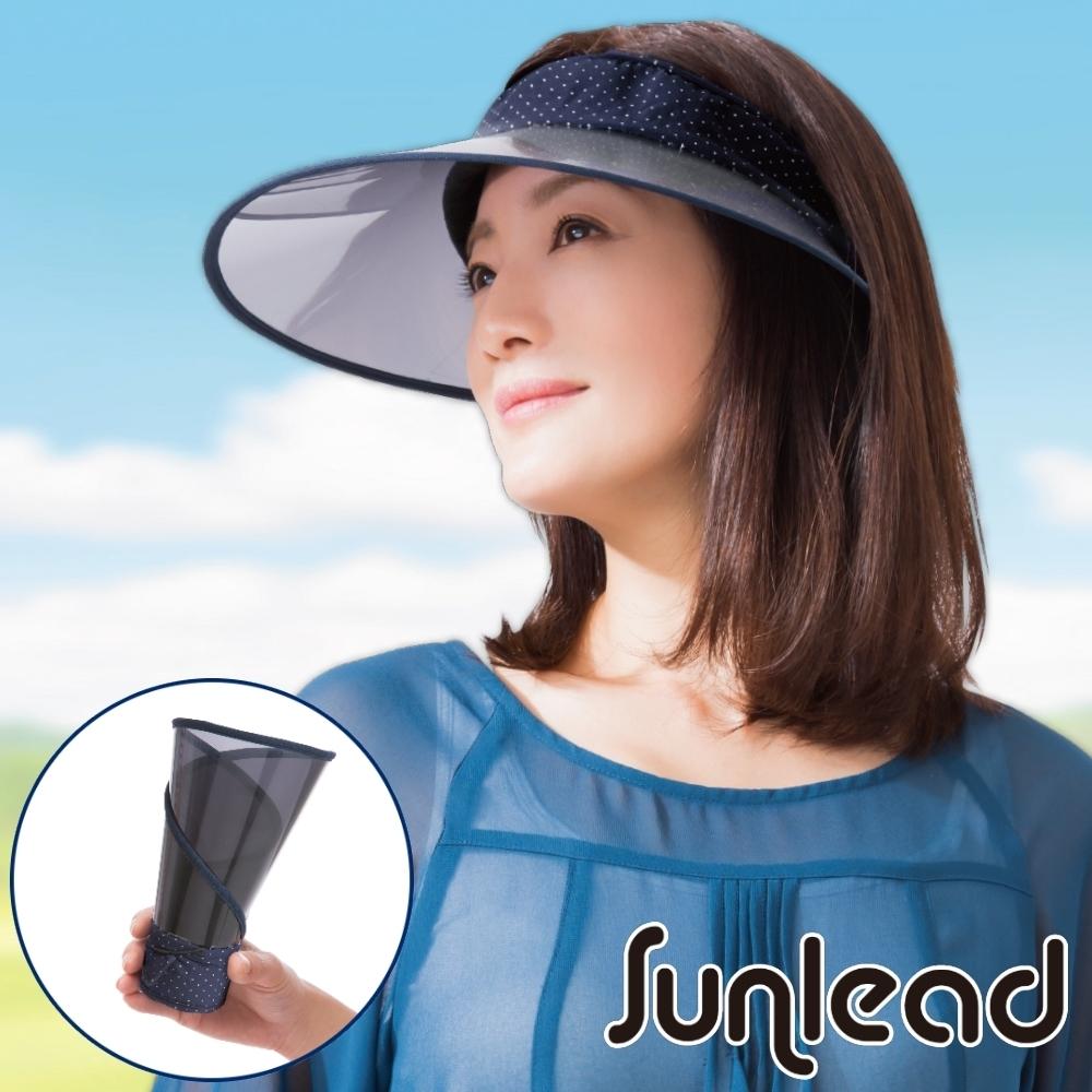 Sunlead 可捲曲收納。防曬涼感透明長帽簷中空帽 (藍色白點點)