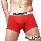 PLAYBOY MIT素面棉感低腰平口褲 四角褲-單件(紅)
