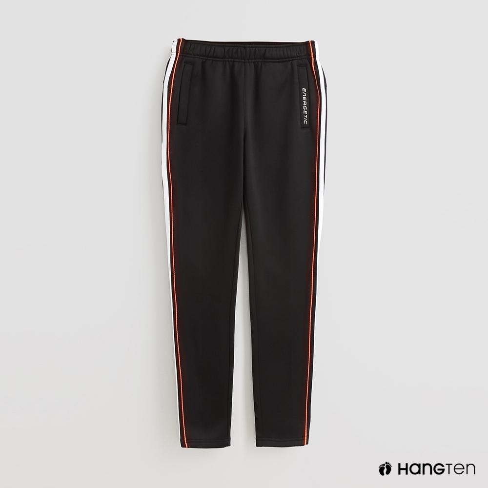 Hang Ten-童裝-ThermoContro-素面配色線條機能休閒長褲-黑