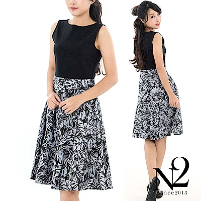 洋裝 一字領素色拼接印花下擺無袖洋裝 N2