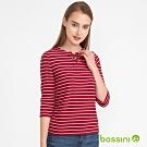 bossini女裝-七分袖條紋上衣02紅色