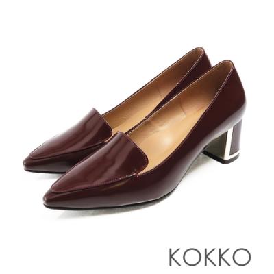 KOKKO - 小方頭樂福金屬鑲邊真皮粗跟鞋 - 暗茄紅