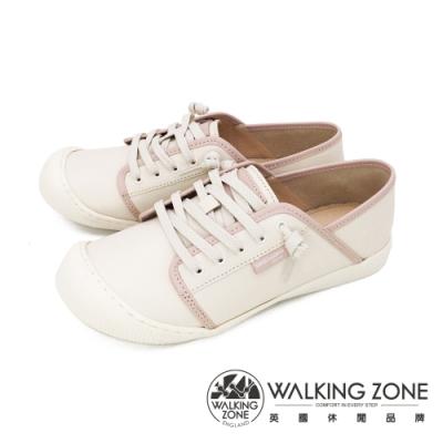 WALKING ZONE (女)大圓頭餅乾鞋 復古底色休閒鞋-粉(另有藍)