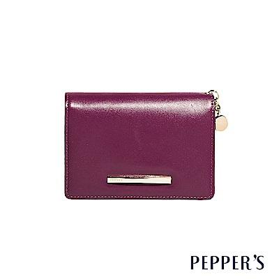 PEPPER`S Raven 牛皮掀蓋中夾 - 胭紫