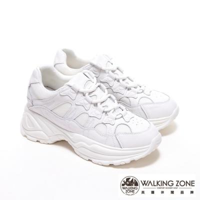 WALKING ZONE 牛皮網布拼接綁帶內增高鞋老爹鞋小白鞋 女鞋-白
