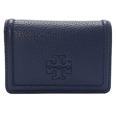 TORY BURCH THEA  經典LOGO牛皮壓扣卡夾包-深藍色
