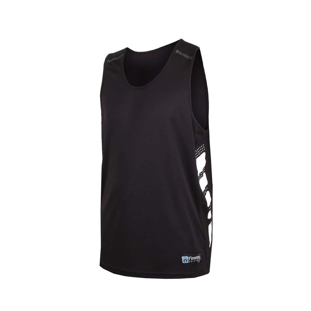 FIRESTAR 男吸濕排汗籃球背心-無袖背心 球衣 黑白