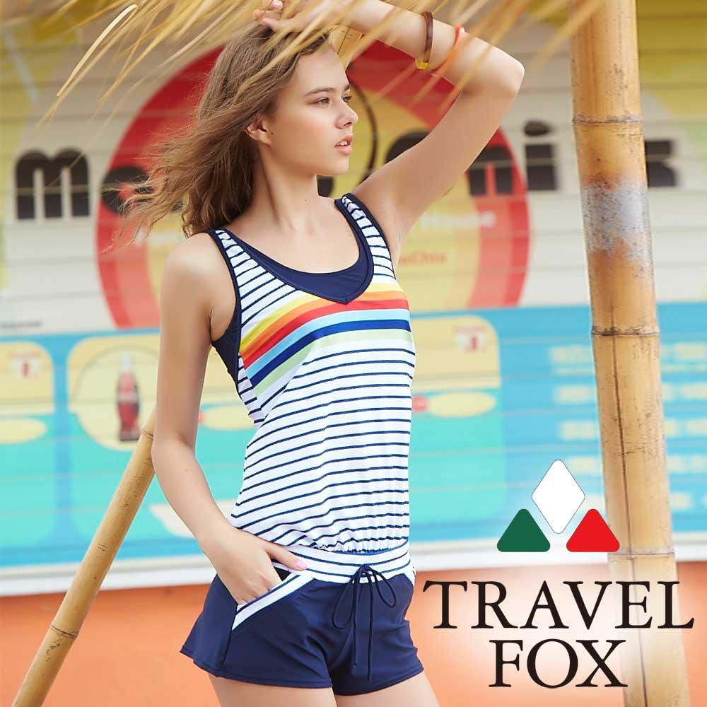TRAVEL FOX夏之戀 大女連身褲二件式泳衣