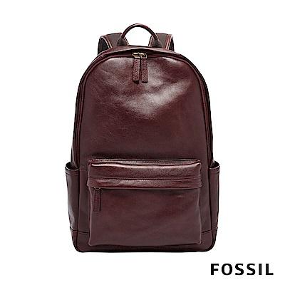 FOSSIL BUCKNER 簡約設計筆電後背包-酒紅色