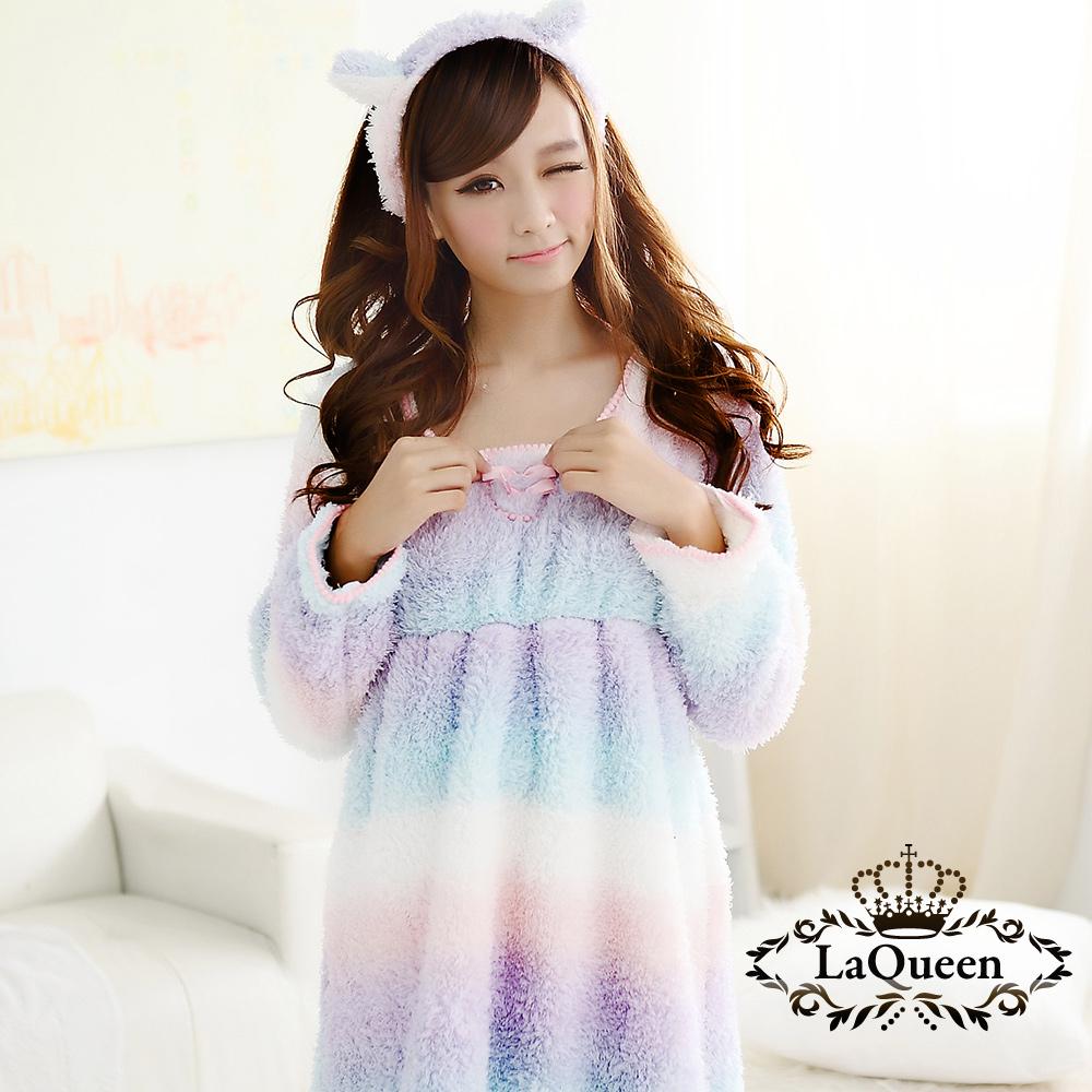睡衣 甜蜜彩虹親膚珊瑚絨睡袍 - 紫 La Queen