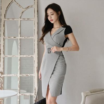 IMStyle V領拼接縮腰連身洋裝