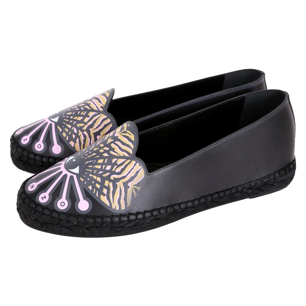 KENZO Flower Platform 花造型草編休閒鞋(黑色)