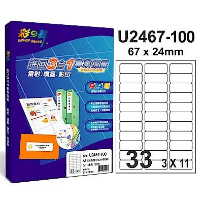 彩之舞 【U2467-100】 A4 3合1 33格(3x11) 標籤紙 300張
